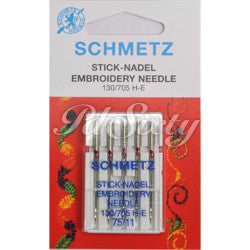 "SCHMETZ NEEDLE- EMBROIDARY 11"", CARDED"