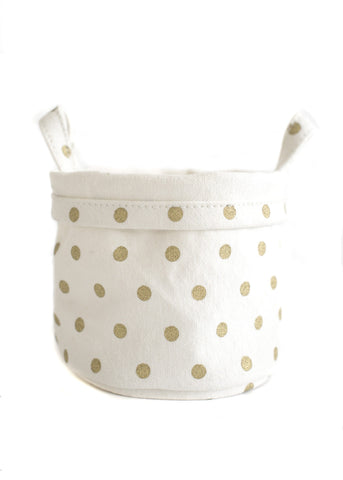 Recycled Canvas Bucket Large - Gold Dots