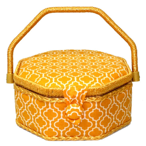Medium Yellow Octagonal Sewing Basket