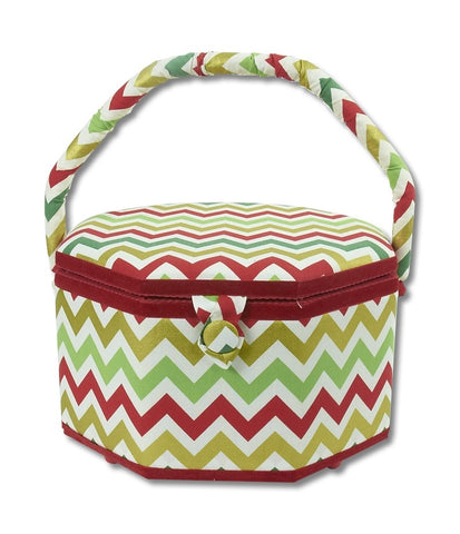 Large Chevron Octagonal Christmas Sewing Basket