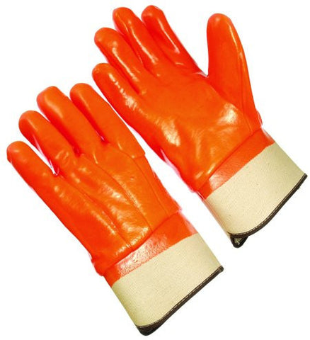 Glove - Orange Flourecent Coating, Band Top PVC Foam Lined - One Size