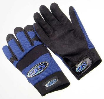 Glove - Mechanics , Synthetic Leather Palm, Reinforced Thumb and Fingertips, Blue Spandex Back