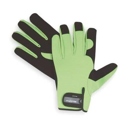 Glove - Hi Vis Mechanics Green Synthetic Suede Palm and Finger Tips
