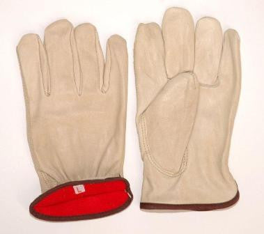 Glove - Red Jersey Lined Drivers Glove, Keystone Thumb, Red Fleece Lined