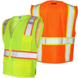 Vest - Class 2 Zipper w/cont Solid Front Mesh back - ORANGE