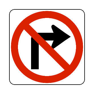 "Sign - Rigid EG - 24"" x 24"" - NO RIGHT TURN (Symbol)"