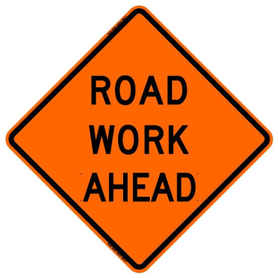 "Roll Up Sign - Road Work Ahead 48"" x 48"""