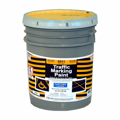 Paint - Fast Dry Latex Traffic Marking - Pail - Yellow 6511