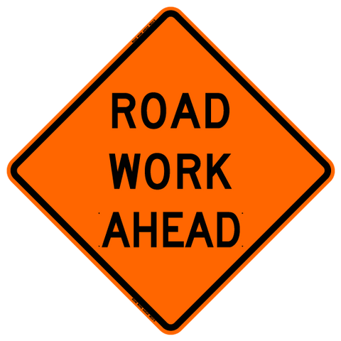 "Roll Up Sign - Road Work Ahead 48"" x 48"" HIP"
