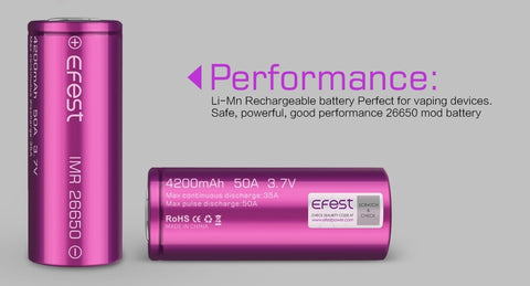 IMR 26650 4200mAh 50A Rechargeable Battery- EFEST