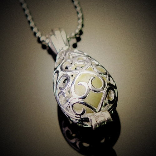 Mermaid Tears Necklace -Silver  Glow In The Dark Locket with Glowing Tear