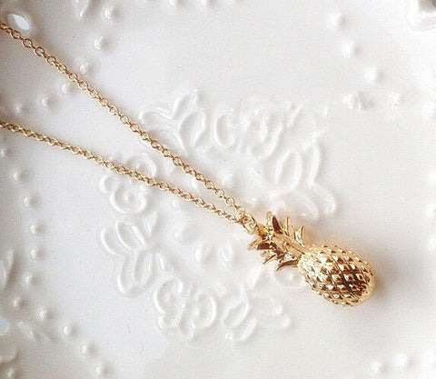 Pretty Gold Pineapple Stone Necklace