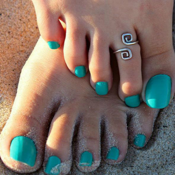 Unique Silver Greek Key Style Toe Ring Beach Jewelry