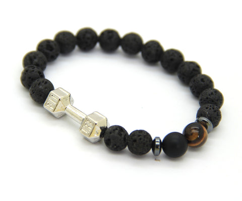 Barbell & Lava Stone Bracelet 8mm Beads Fitness Fashion