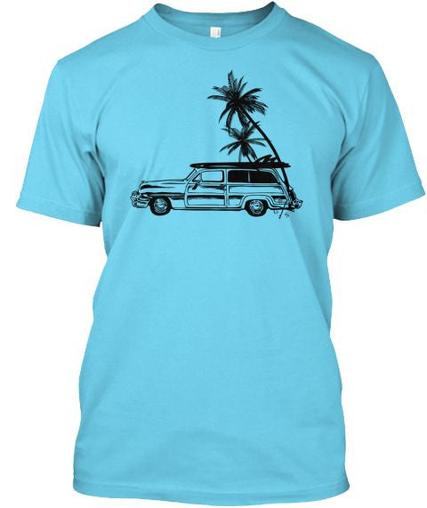 Men's Surf Woodie and Long Boards Tee Shirt