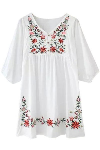 Embroidered Flora Vintage Style Boho Chic Peasant Dress  One Size
