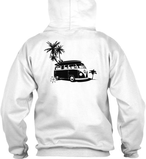 Vintage Surf Bus and Palms Hoodie VW White