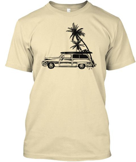 Men's Surf Woodie and Long Boards Tee Shirt Sand