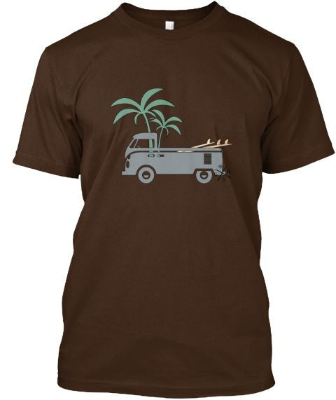 Men's Friday Afternoon VW Surf Bus Shirt Brown Gear Hunter Surf