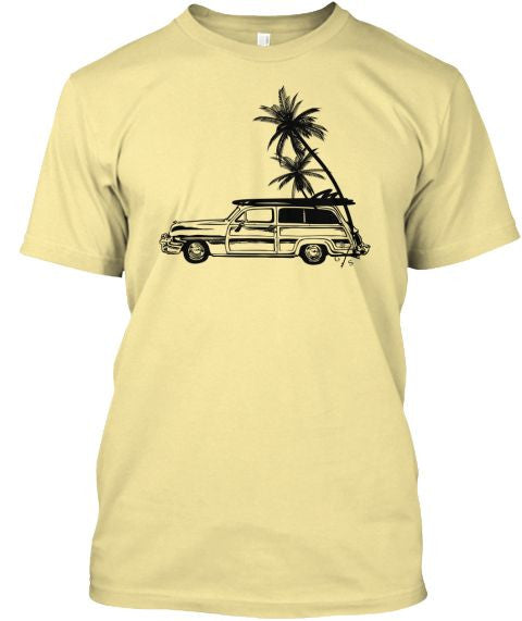 Men's Surf Woodie and Long Boards Tee Shirt Banana Cream