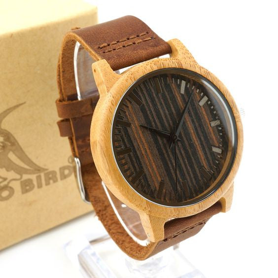 Unique Wood Face & Leather Band  Quartz Watch