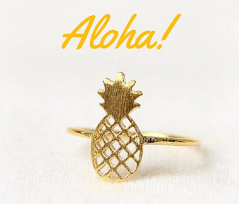 Juicy Pineapple Ring in 18k Gold or Silver