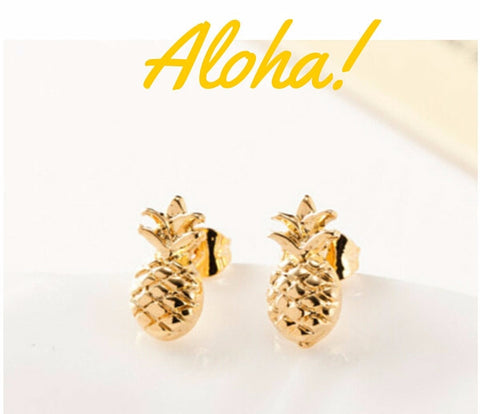 Juicy Gold or Silver Pineapple Stone Earrings