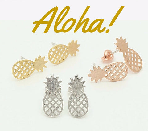 Pineapple Stud Earrings in Gold or Silver  ~Jewelry~ Aloha!