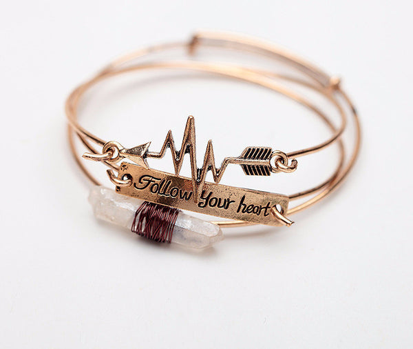 Three Piece Follow Your Heart Wire Wrap Crystal and Arrow Bracelet Set