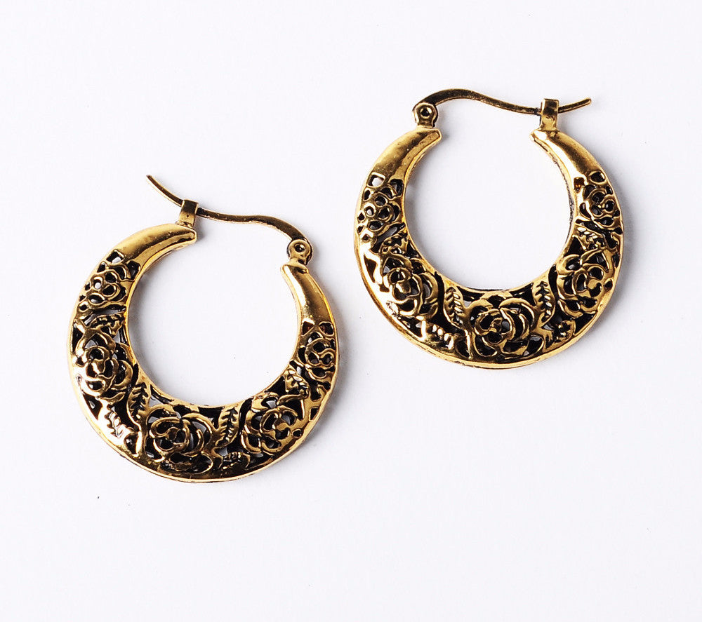 Rose Lace Cutout Boho Chic Drop Earrings