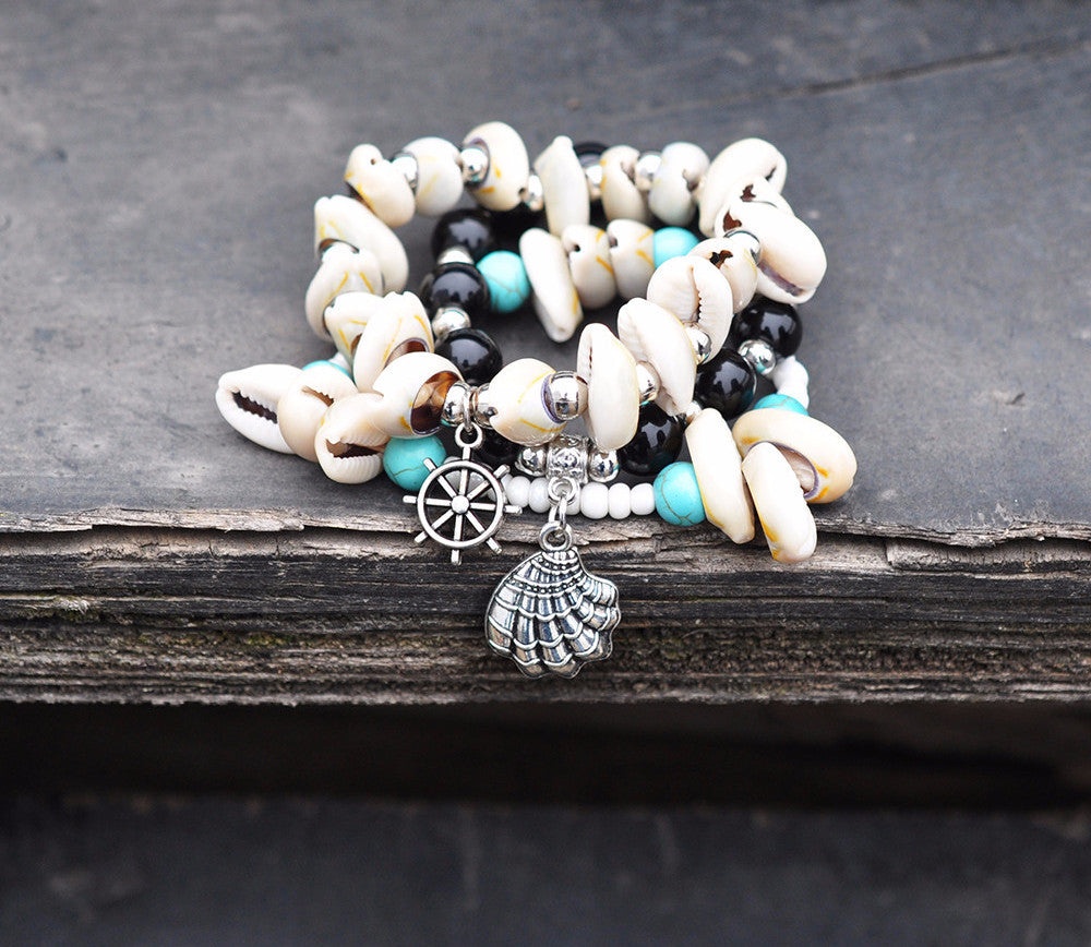 Layered Shipwrecked Bracelet With Silver Bubbles, Cowrie Shells, Turquoise Beads,  Clam Shell