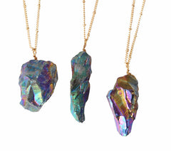 Iridescent rainbow stone pendant gold plated necklace gear hunter surf aloadofball Choice Image