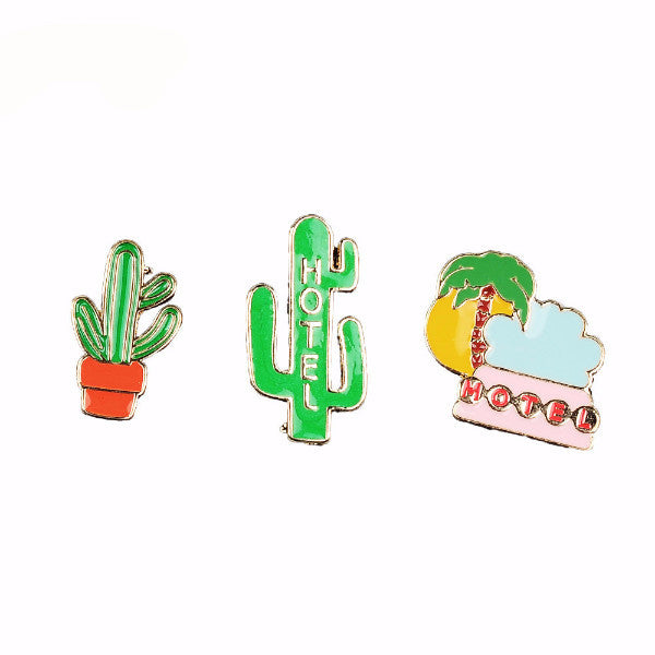 Hotel Motel Cactus and Palm Tree Road Trip  Pins Set