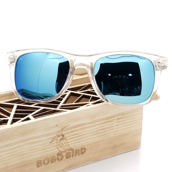 Men's BOBO BIRD Blue Color Lense Sunglasses with Wood Bamboo Frame Polarized  With UV 400 Protection