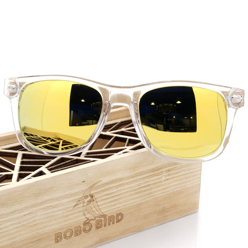 fcd68ff96b3 ... Men s BOBO BIRD Gold Color Lense Sunglasses with Wood Bamboo Frame  Polarized