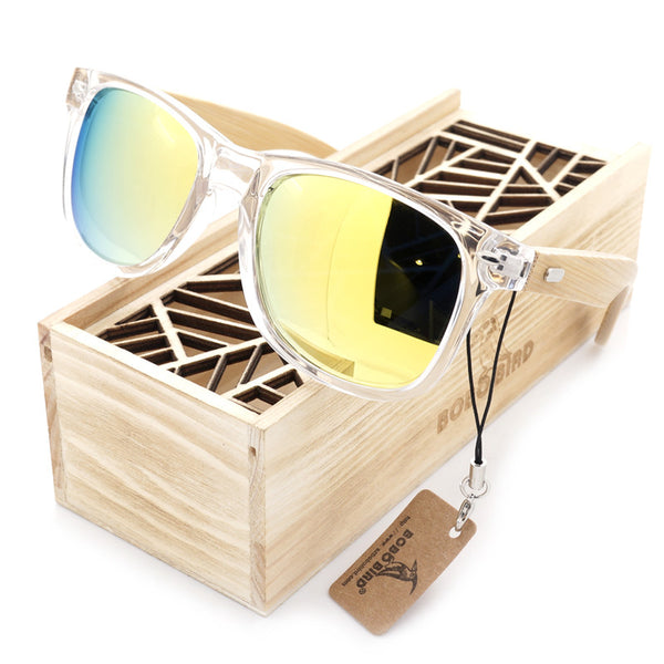 Men's BOBO BIRD Gold Color Lense Sunglasses with Wood Bamboo Frame Polarized
