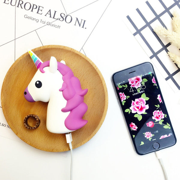 Kawaii Unicorn Emoji Portable Powerbank Charger Accessory for iPhone & Android Phones