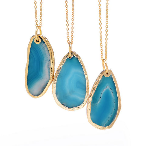 Ocean Waves ~ Natural Stone Blue Agate Druzy Style Pendant & Necklaces