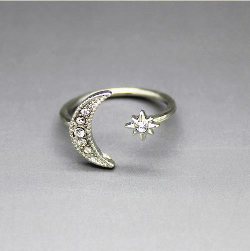 Sparkling Crystal Star & Crescent Moon Ring in Gold or Silver