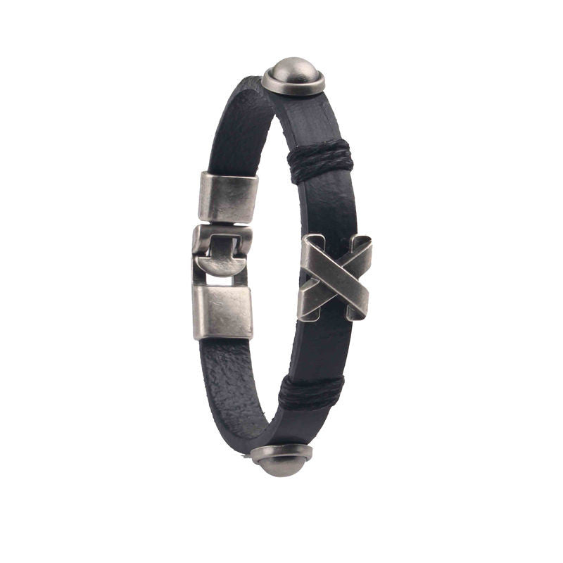 X Marks the Spot Leather Tribal Bracelet