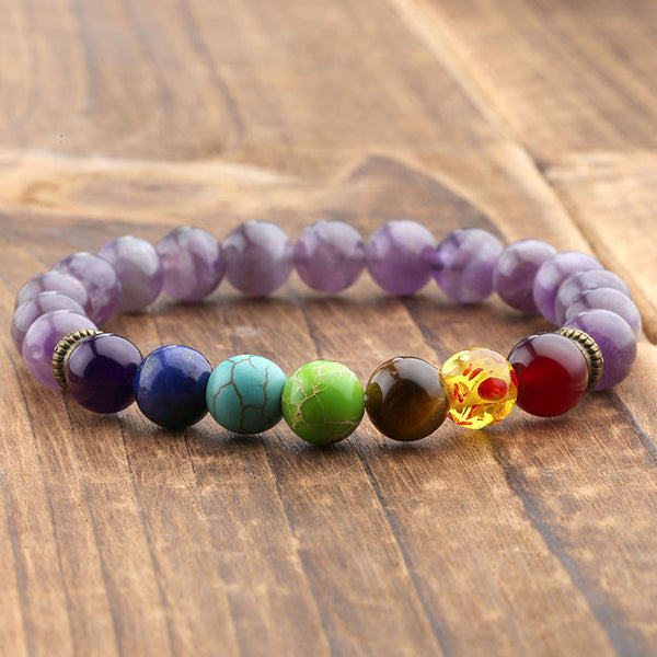 Rainbow Chakra Crystal Stones with Amethyst Beads Bracelet