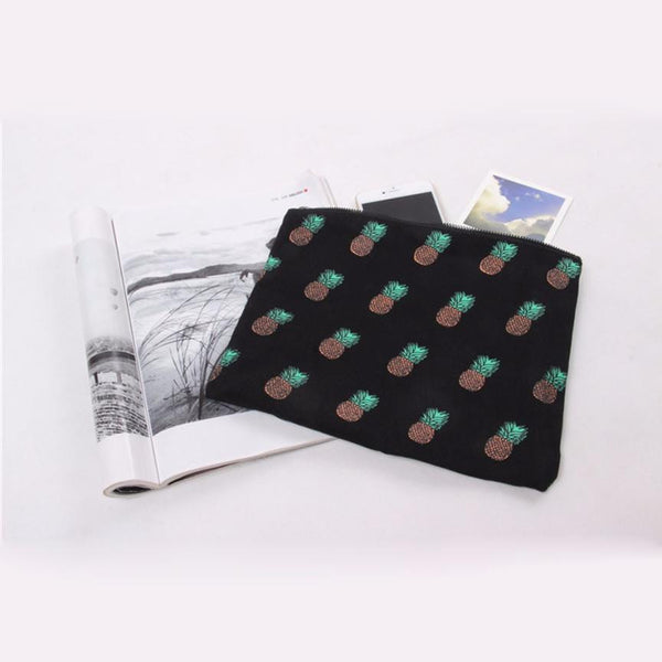Classic Hawaiian Pineapple Print Canvas Makeup Bag White or Black