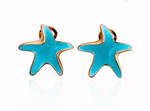 Sea Blue Starfish Earrings 18K Gold
