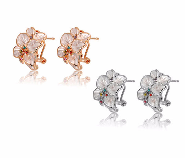 Tropical Fauna Austrian Crystal Rose Gold or Silver Clip Post Earrings