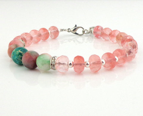 Rose Quartz  & Natural Green Stone Boho Chic Bracelet