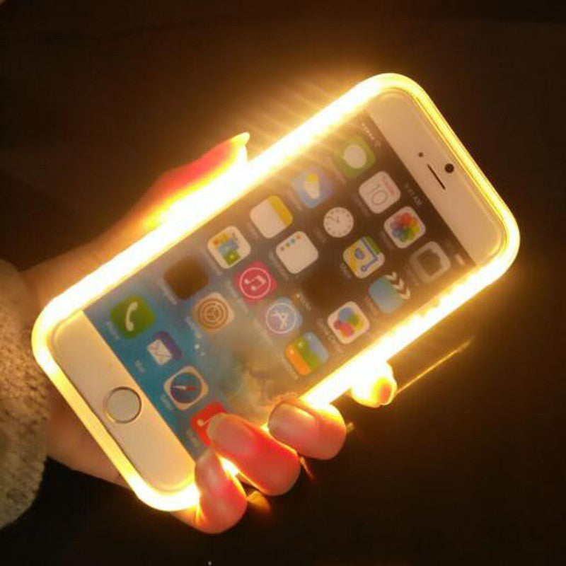 the latest 07cd3 12cc1 Selfie Light-Up Case Luxury LED Cover With Charging Cable for iPhone 5 6 6s  6 plus/ Or Samsung s6