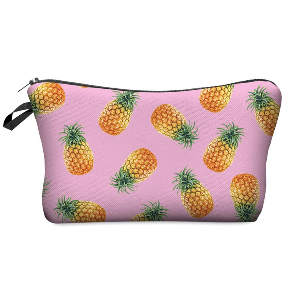 Pink Hawaiian Pineapple Small Cosmetic Bag Makeup Organizer