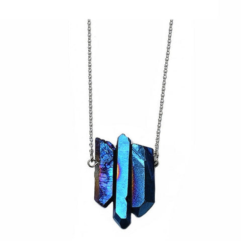 Metallic Crystal Pendant Necklace with Silver Chain Necklace