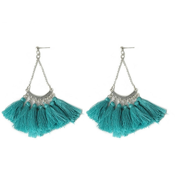 Turquoise Blue Tassel & Silver Earrings Boho Chic