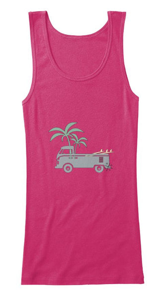Friday Afternoon Women's Vintage Surf Bus Tank Berry